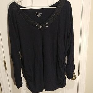 Lane Bryant Navy Sequin Ruched Shirt